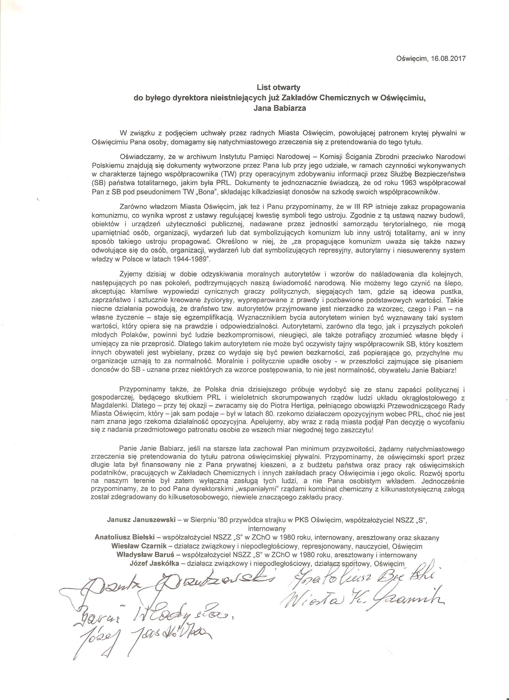 OŚWIĘCIM. Januszewski, Bielski, Czarnik, Baruś i Jaskółka piszą do Jana Babiarza