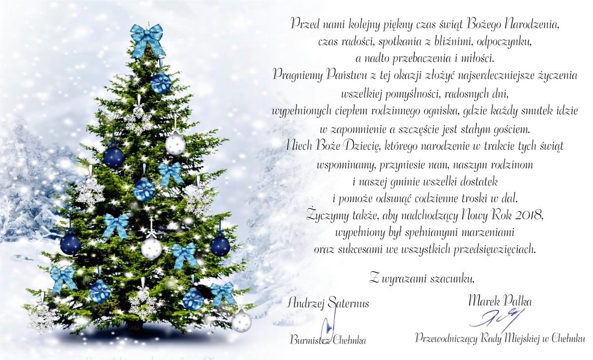 ŚWIĘTA. Życzenia świąteczno-noworoczne od burmistrza Chełmka
