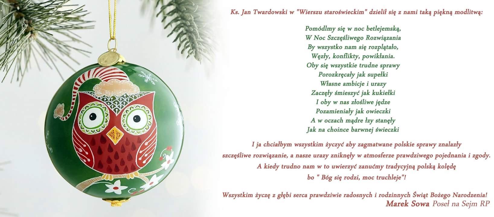 ŚWIĘTA. Życzenia świąteczno-noworoczne od posła na Sejm RP Marka Sowy