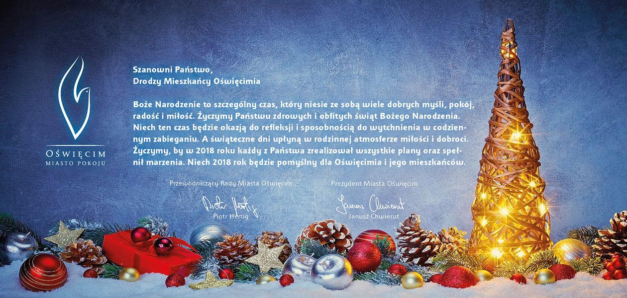 ŚWIĘTA. Życzenia świąteczno-noworoczne od prezydenta Oświęcimia Janusza Chwieruta