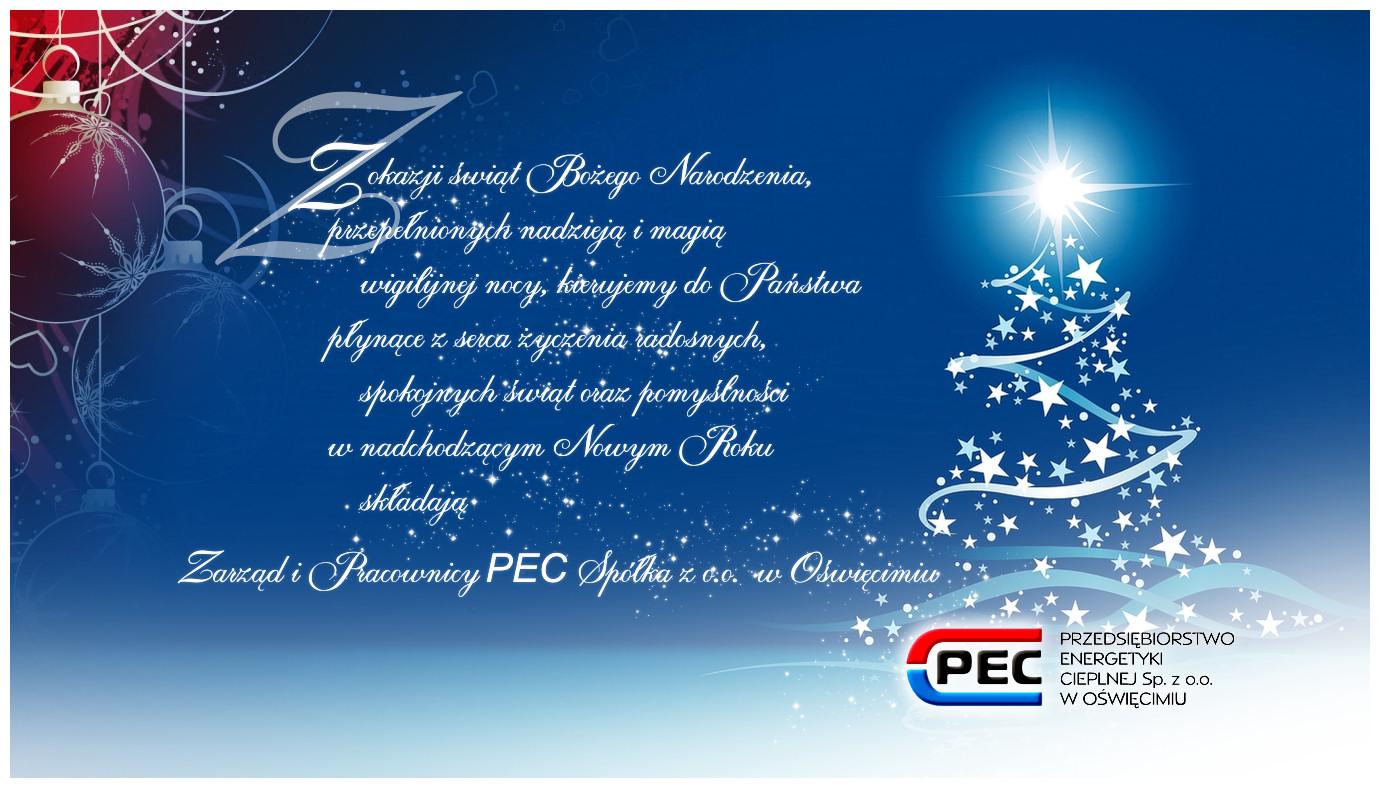 ŚWIĘTA. Życzenia świąteczno-noworoczne od Przedsiębiorstwa Energetyki Cieplnej w Oświęcimiu