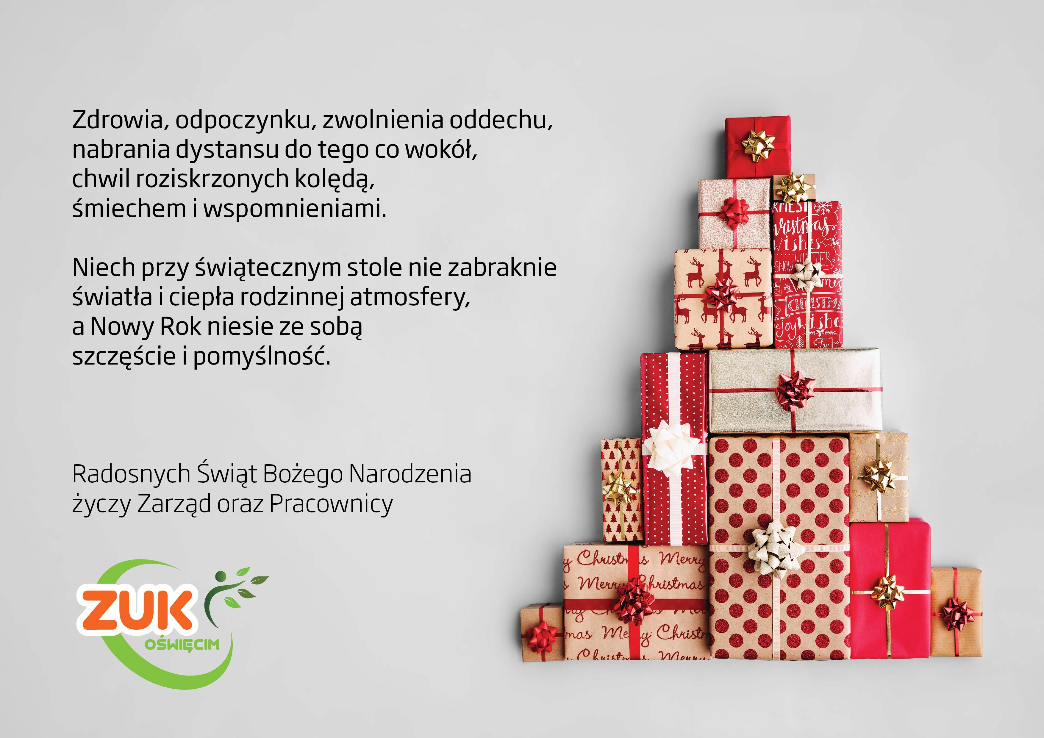 ŚWIĘTA. Życzenia świąteczno-noworoczne od Zakładu Usług Komunalnych w Oświęcimiu