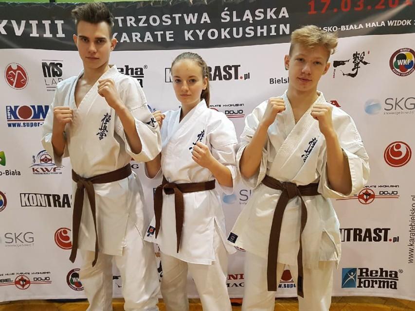 Stoją od lewej Adam Dzięgiel, Katarzyna Kotapka i Szymon Dębski. Fot. zbiory klubu