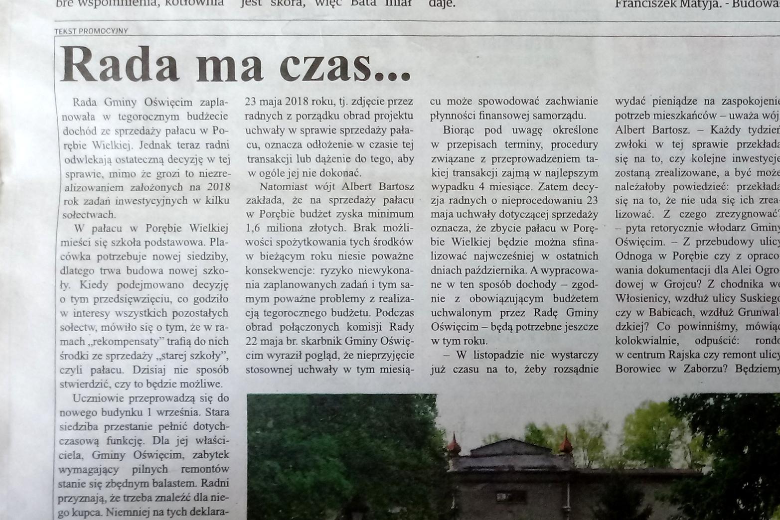 """Tekst ukazał się w dzisiejszej """"Krakowskiej"""" jako """"Tekst Promocyjny"""".Fot. red"""