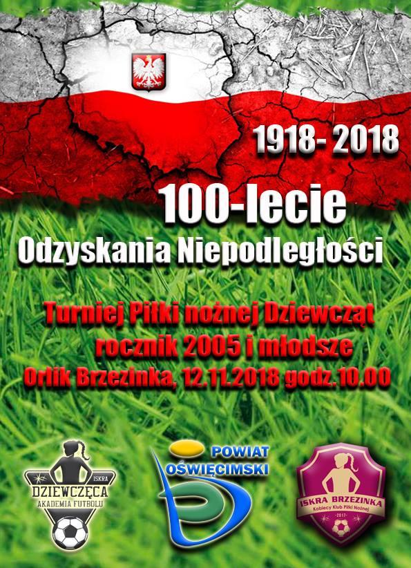 12 listopada na orliku w Brzezince zostanie rozegrany okazjonalny turniej dla dziewcząt 13-letnich i młodszych.