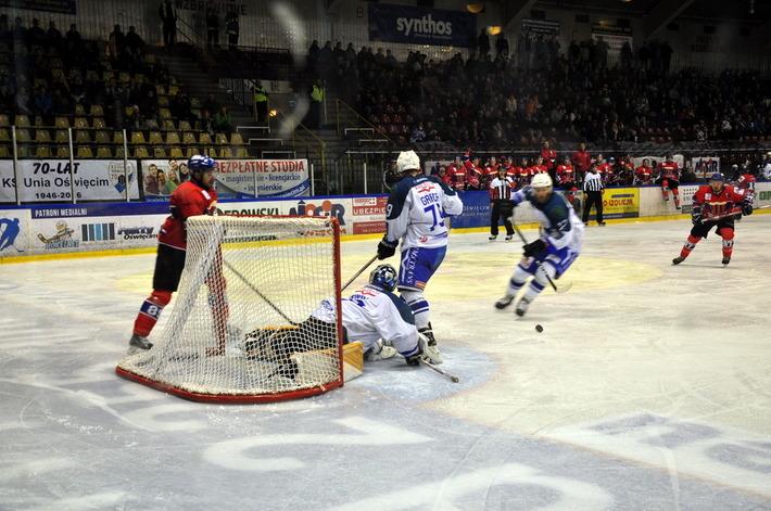 Oświęcimska Unia jako ostatnia zameldowała się w ćwierćfinale play-off. Teraz biało-niebieskim przyjdzie walczyć z najlepszym po sezonie zasadniczym zespołem z Katowic.