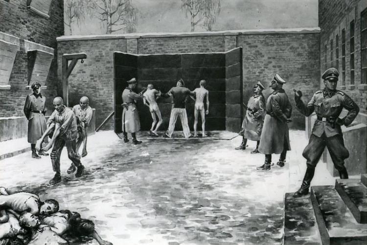 Egzekucja pod Ścianą Straceń na dziedzińcu bloku nr 11, obraz b. więźnia Władysława Siwka