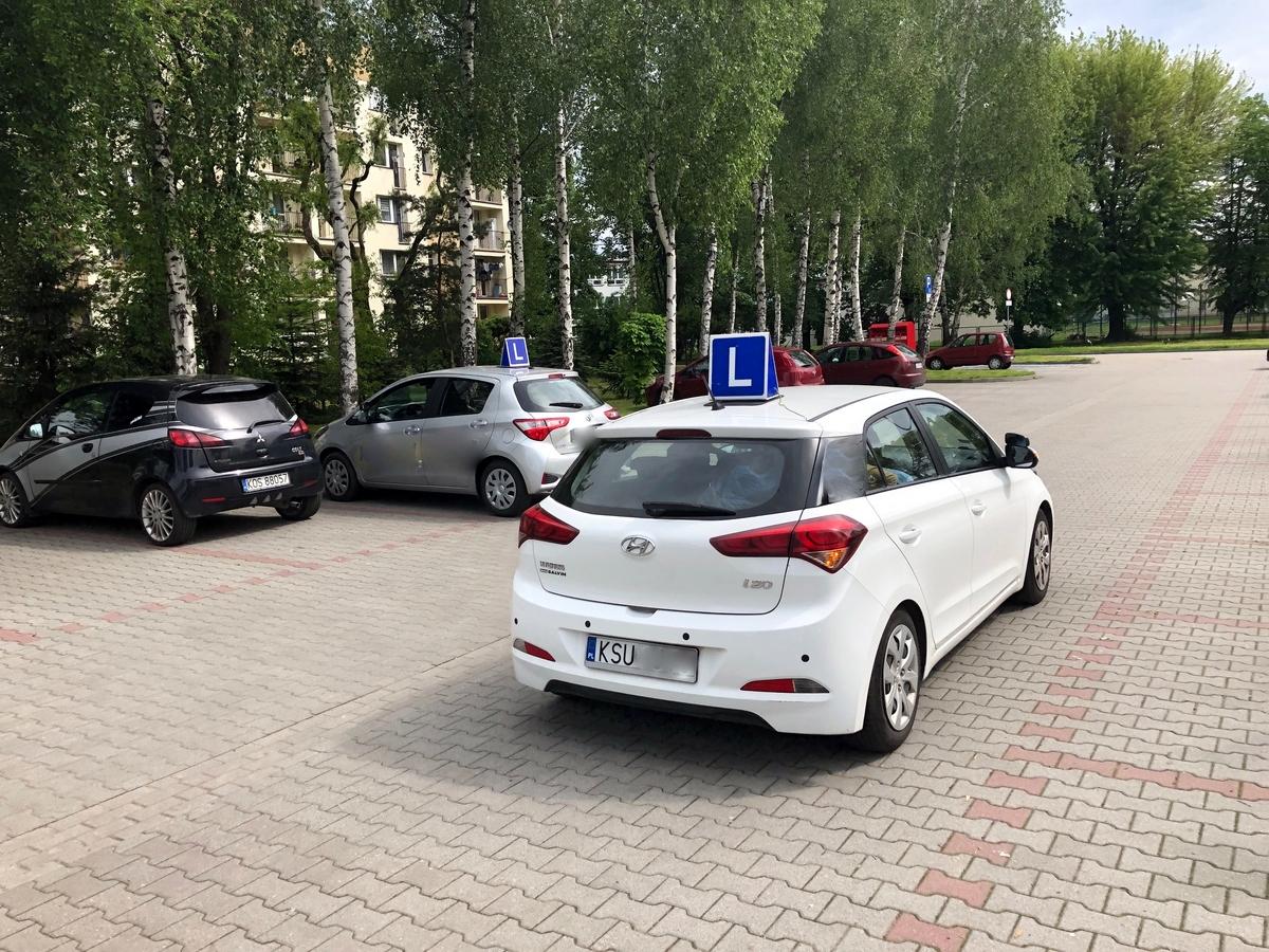 """""""Elki"""" z parkingu przy Więźniów Oświęcimia zrobiły sobie plac manewrowy. Fot. sz"""