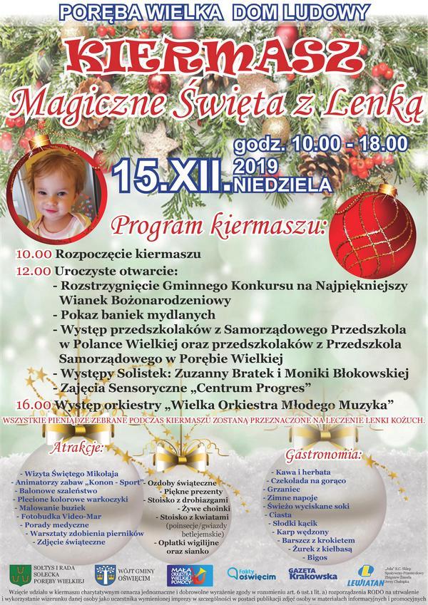 PORĘBA WIELKA. Kolejny Kiermasz Bożonarodzeniowy dla Lenki Kożuch