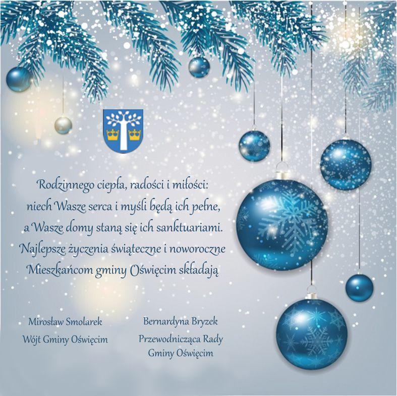 GMINA OŚWIĘCIM. Życzenia świąteczne wójta Gminy Oświęcim oraz przewodniczącej Rady Gminy